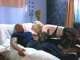 Blonde cute mature gets facial from big black cock