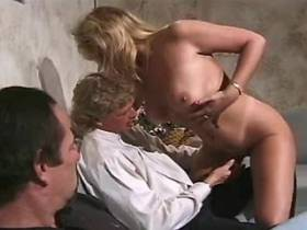 Blonde mature sucks cocks and gets fuck in orgy