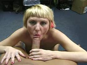 Blond lewd mature does hot blowjob and gets facial