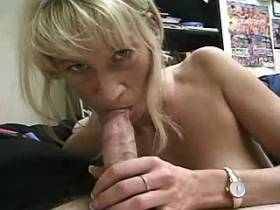Blonde mature does hot blowjob and tastes sperm