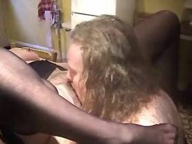 Elder chubby mature has oral sex and jums on cock