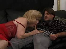 Elder blond mature sucking and jumping on big cock