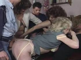 Three hungry matures hot fucks in orgy and get cum