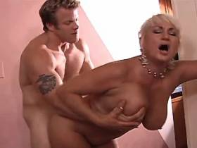 Chubby blonde mature fucks and gets cum in mouth