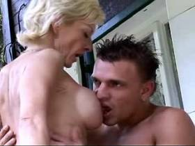 Blonde mature sucks cock and has hot fuck outdoor